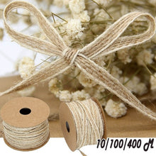 Load image into Gallery viewer, 1/10/100/400M Roll Width 0.5cm Jute Burlap Rolls Hessian Ribbon with Lace Vintage Rustic Wedding Decoration Ornament Party Decor Christmas Decor