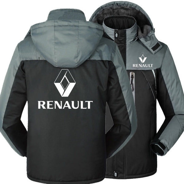 Renault Car Logo Windbreaker Outdoor Autumn Winter Fleece Thick Warm Jackets Men Plus Size Hooded Car Clothes