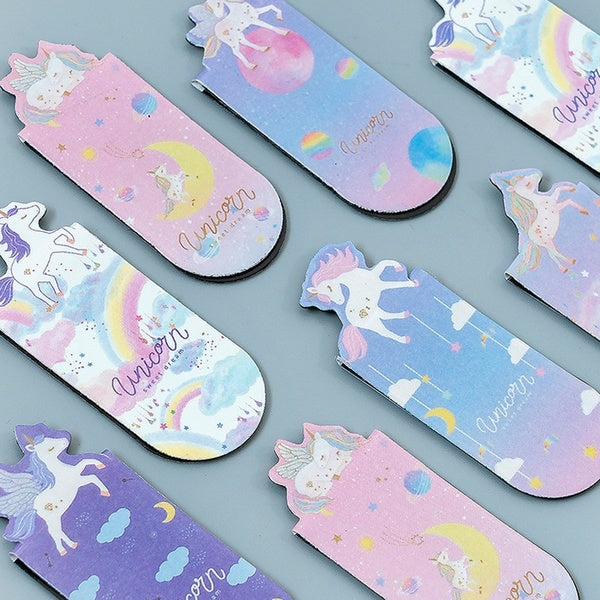 3 Pcs/pack Unicorn Magnetic Bookmarks Books Marker of Page Student Stationery School Office Supply