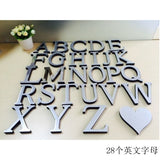 Personality New English Letters Alphabet Acrylic Mirror 3D Mirror Stickers DIY Mirror Wall Letter Stickers Letter Wall Stickers Wall Art Letters Stickers Wall Sticker Letters Removable Wall Decor Letters Stickers
