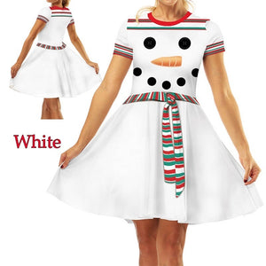 Fashion Christmas Elf Digital Print Women's Short Sleeve Slim Dress
