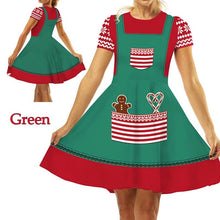 Load image into Gallery viewer, Fashion Christmas Elf Digital Print Women's Short Sleeve Slim Dress