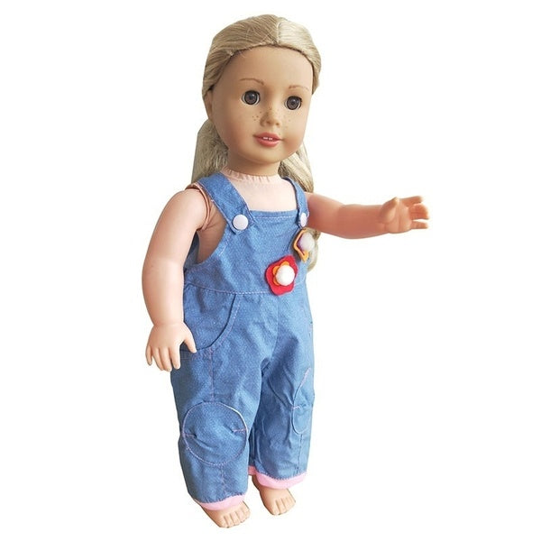 Denim strap piece pants fits 18-inch Girl Doll The best gift for girls Doll accessories doll clothes