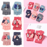 1 Pair New 3-12 Years Old Cute Cartoon Rabbit Baby Gloves Lovely Keep Finger Warm Boys Girls Knitting Mittens Thick Half Finger Flip Cover Kids Gloves