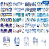 12 Designs In 1 Set Christmas Nail Art Stickers Snowflakes Snowmen Deer Water Transfer Nail Decals