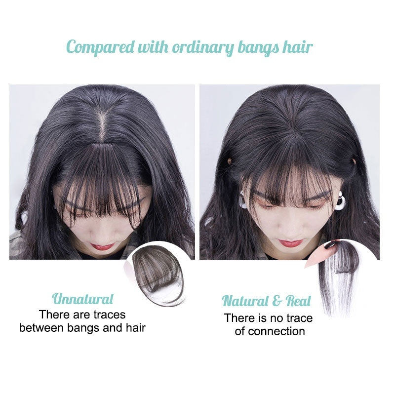 3D Clip in Air Bangs 100% Remy Human Hair Extensions One Piece Air Fringe Hand Tied Straight Clip on Hairpiece with Temples for Women
