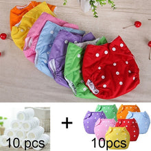 Load image into Gallery viewer, 10PCS Reusable Baby Infant Nappy Cloth Diapers Soft  Washable Size Adjustable +10 Air cotton diapers