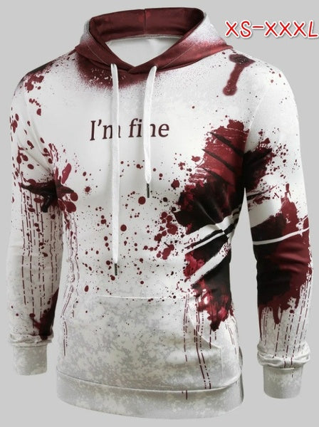 Horror Wound 3D Hoodie Fashion Pullover White Halloween Mens Hoodies Sweatshirts I AM FINE Print Male Hooded Hoddies with Big Pockets