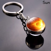 Load image into Gallery viewer, Moon Keychain Solar System Planet Keyrings Galaxy Nebula Space Keychain Earth Sun Mars Jupiter Saturn Picture Double Side Glass Ball Key Chain