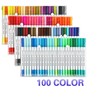 60-100Color Dual Brush Pen Colored Art Markers 100 Colors - With Fineliner Fibre Tip 0.4 Fine Point - Sketch Drawing Marker - perfect for coloring books
