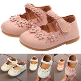 Fashion Girls Shoes Rhinestone Flower Princess Dress Shoes PU Leather Casual Toddler Kids