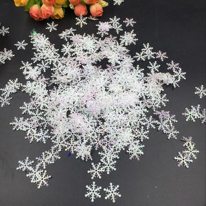 300pcs Classic Snowflake Ornaments Christmas Tress Holiday Party Home DIY Decor