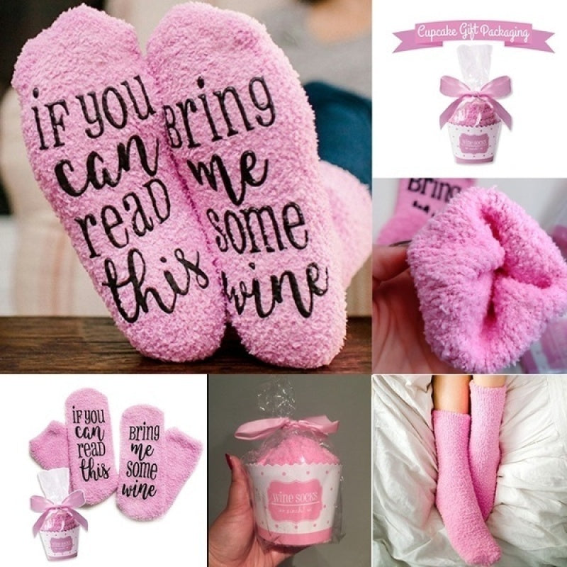 Cute Cupcake Packing Cotton Socks Gift Letter Printed Socks for Dear your Christmas Gift For Family & Friends.3 Color