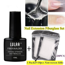 Load image into Gallery viewer, Fiber Builder for Nail Extension Fiberglass Set 1pcs 15ml Fiberglass Nail Gel With 20pcs Non-woven Silks For Nail Extension Strengthen
