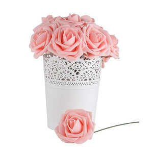 10Pcs/lot Artificial Flowers Foam Roses with Rod Flower Branch for Wedding Home Decoration Scrapbooking DIY Craft Fake Flowers