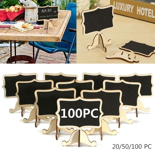 20/50/100 PC Small Wooden Black Boards Wedding Table Numbers Name Place Wedding Favors Mini Message Blackboard Party Label Table Decor