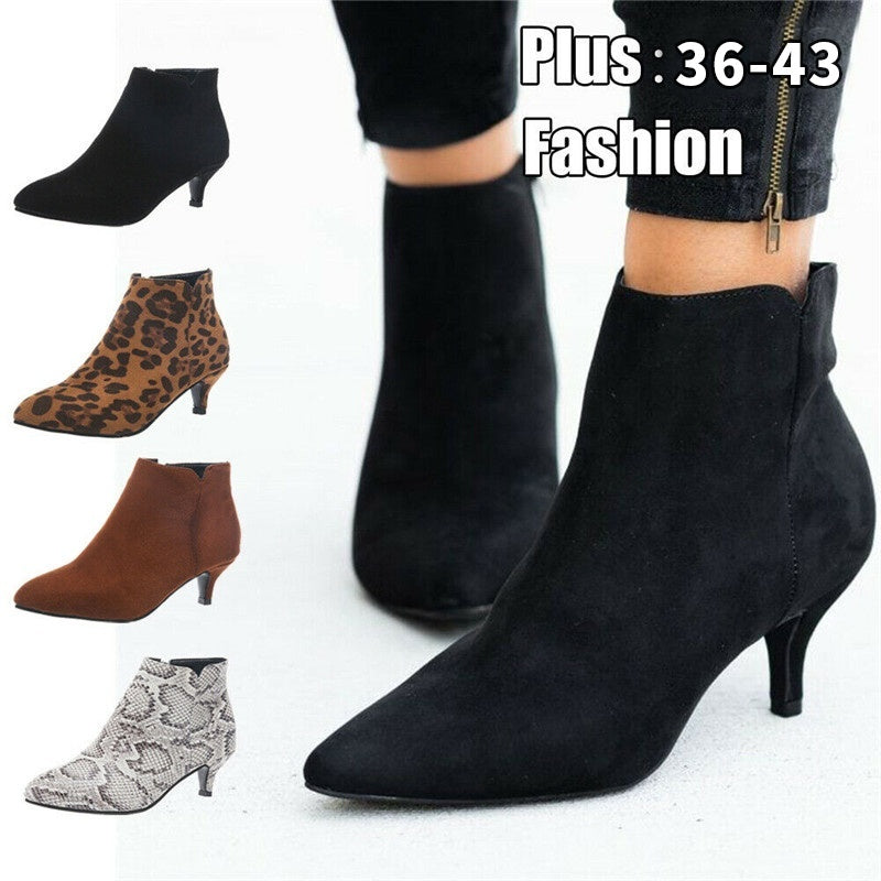 Women Suede Chelsea Mid Stiletto Heel Ankle Boot Zipper Pointed Toe Ankle Boots