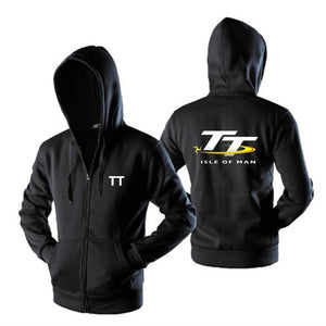 Isle of Man TT Zipper Sweatshirts Motorcycle Locomotive Competition Commemorative Hooded Coat Black S-4XL