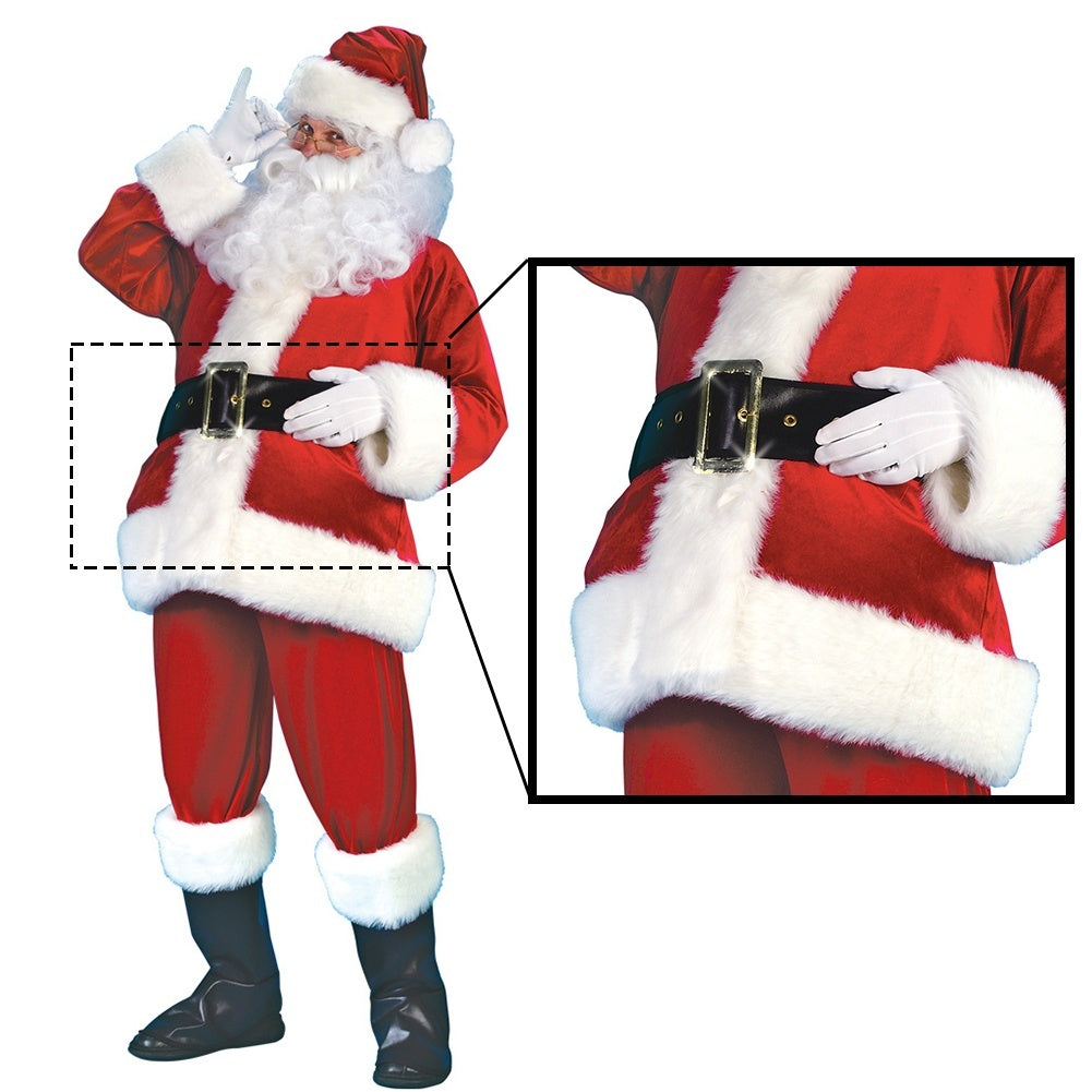 7-Piece Santa Claus Suit Plush Father Christmas Costume Xmas Fancy Dress 100% Polyester Velvet