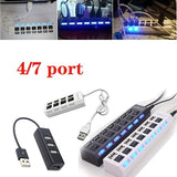 High Quality 7 Ports/4 Ports LED USB 2.0 Adapter Hub Power on/off Switch for PC Laptop