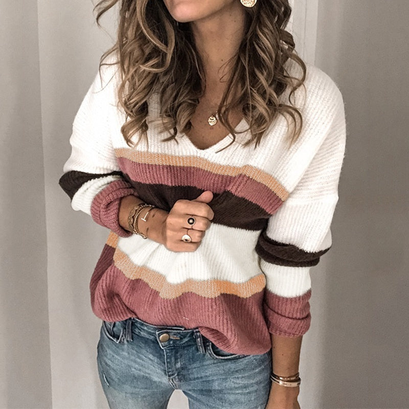 Autumn Winter Women V Neck Striped Knitted Sweater Casual Pullover Jumper Plus Size