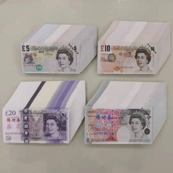 10/100Pcs  5 10 20 50 GBP Fake Paper Money Bank GBP Training Collect Learning Banknotes GBP Magic Props Copy