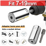 Universal Torque Wrench Head Set Socket Sleeve 7-19mm Power Drill Ratchet Bushing Spanner Key Magic Multi Hand Tools