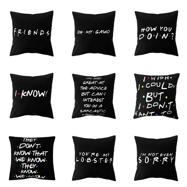 18'x18' Classic Friends Show Funny Quotes Printed Black Pillow Covers Polyester Square Pillow Cases Sofa Cushion Covers
