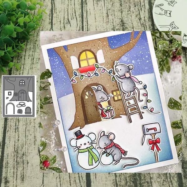 Treehouse Scene Metal Cutting Dies Flower Border Crafts Die Cuts for DIY Scrapbooking Paper Cards Decorations