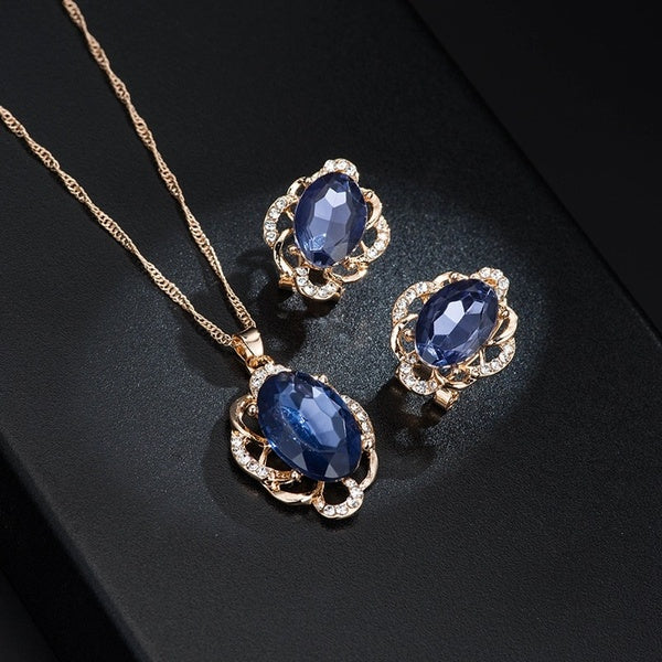 Elegant Ladies Necklace Sapphire Necklace Earrings Set Wedding Jewelry Engagement Necklace Party Jewelry