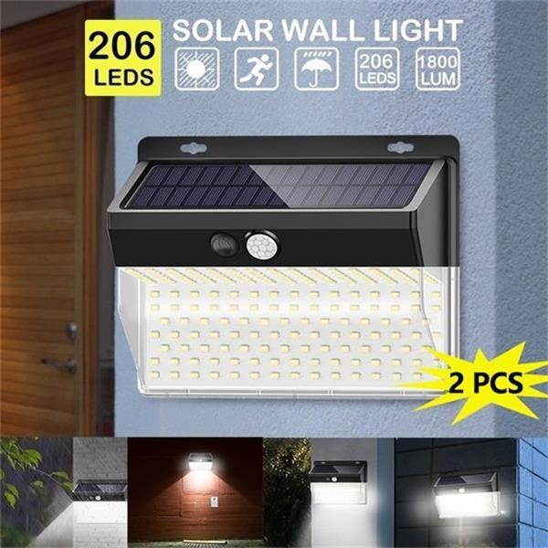 3Modes 1/2PCS Solar Wall Lamps 100/206LED Outdoor PIR Motion Sensor Night Light IP65 Waterproof Security Lights for Garden Yard Patio Pathway