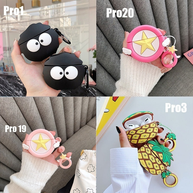 3D Earphone Case For AirPods / AirPods Pro Case Silicone Stitch Cute Cartoon Headphone/Earpods Cover For Apple Air Pods Pro 2/3 Case Keychain