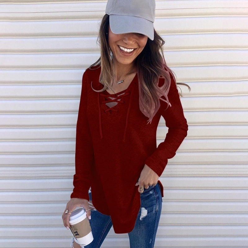 Women's Boho Lace Up Deep V Neck Long Sleeve Casual Loose Blouse Tops Shirt