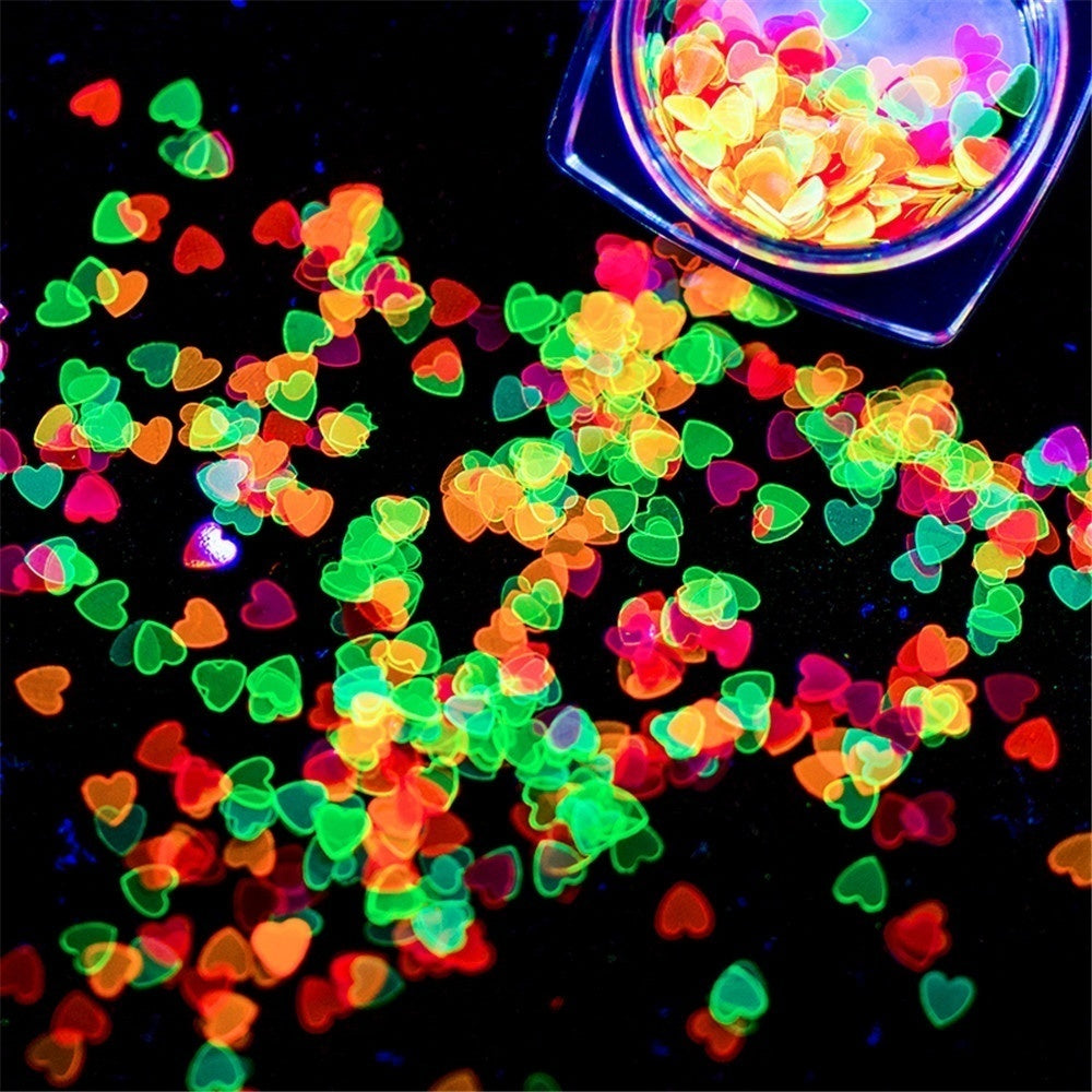 1 Box New Glow In Dark Beauty Holographic Art Fluorescence Nail Stickers Manicure Decor Luminous Nail Sequins Heart Shaped Flakes