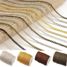 Load image into Gallery viewer, 5M Metal Plated Open Link Iron Metal Chain For Jewelry Making