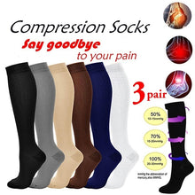 Load image into Gallery viewer, 1/2/3 Pair 20-30 Mmhg Unisex Compression Long Socks Women Men Pressure Varicose Veins Leg Relief Pain Knee High Stockings S-XXL