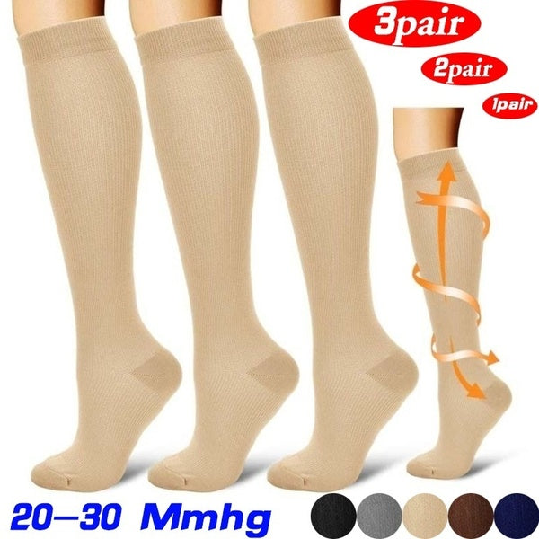 1/2/3 Pair 20-30 Mmhg Unisex Compression Long Socks Women Men Pressure Varicose Veins Leg Relief Pain Knee High Stockings S-XXL