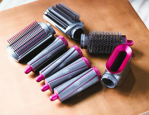 Refurbished Dyson Airwrap Styler Complete Set Includes Fuchsia Styler & 1.2/1.6 Inch Barrels & Firm/Soft Smoothing Brush & Round Volumizing Brush & Pre-styling Dryer