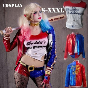 New Fashion Cosplay Suicide Squad  Joker and Harley Quinn Costume  Tshirt/shorts/coat