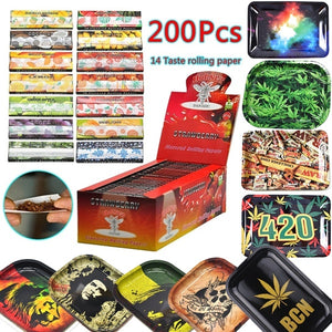200pcs Cigarette Paper Tobacco Smoking Rolling Paper Tinplate Cigarette Tray  Roller Paper Tool Pipe Grinder Tobacco Cigarette Holder Smoking Accessories