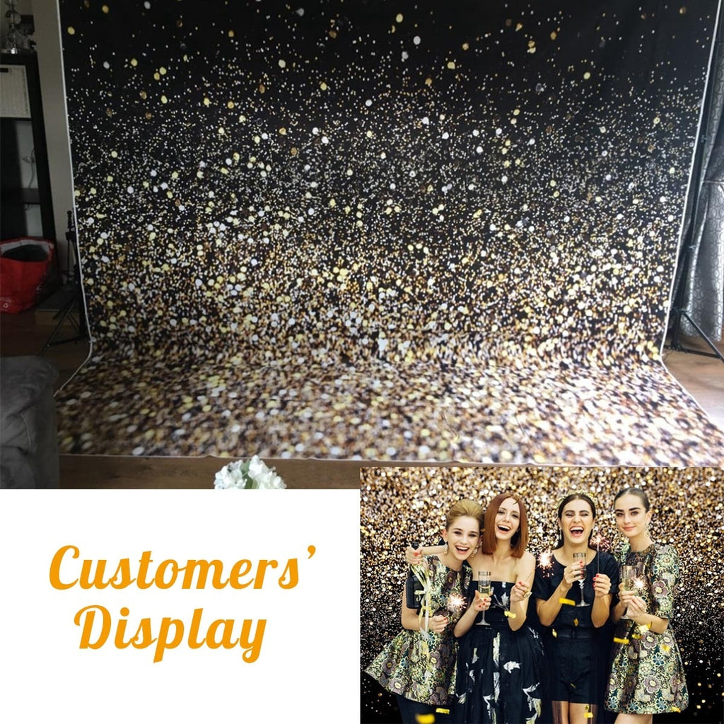 5x3ft/7x5ft/9x6ft Gold Bokeh Spots Backdrop Photography Background Birthday Wedding Party Decor Studio Props