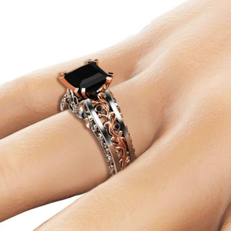 Princess Black Diamond Engagement Ring 14K Rose Gold and 925 Sterling Silver Wedding Bridal Rings size 5-12