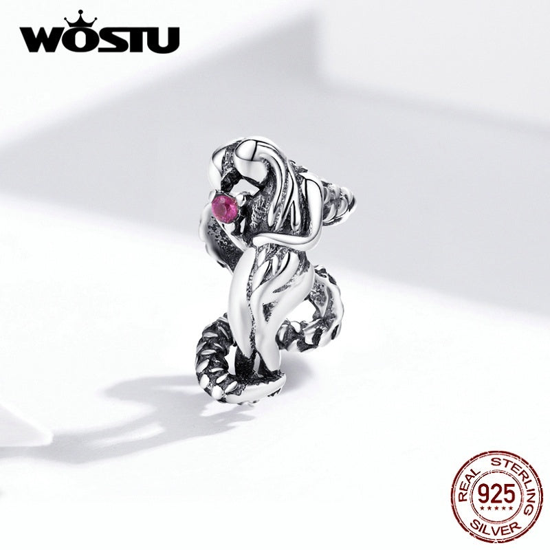 WOSTU Vintage Beads 925 Sterling Silver Heart Charms Fit Bracelets European Safety Chain DIY Jewelry Accessories
