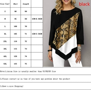 Spring Autumn Women's Printed Stitching Long Sleeve T Shirt Ladies Casual Plus Size Tops S-5XL