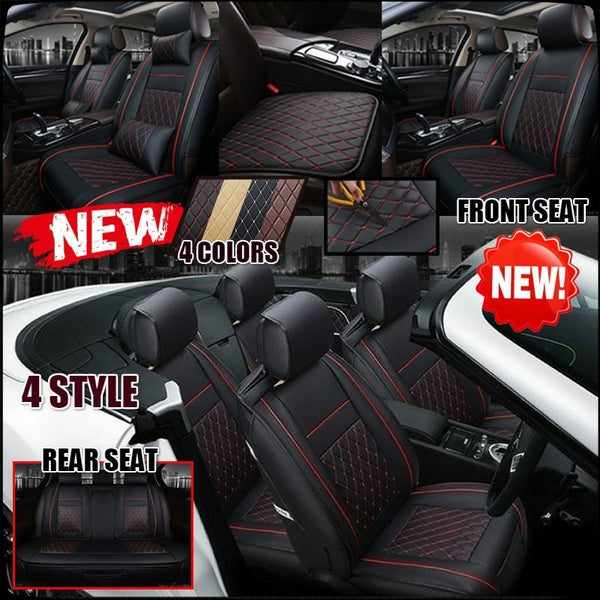 3 Style Four seasons Fashion 4 Colors All Cars Luxury PU Leather Support Pad Universal Car Seat Cushion Includes front and rear seats