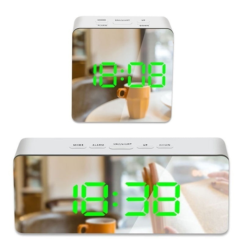 LED Mirror Alarm Clock Digital Alarm Clock with Dimmer, Snooze,Temperature Function for Bedroom Office Travel Battery Powered & USB Powered