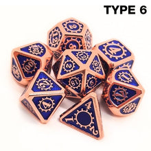 Load image into Gallery viewer, (12 Colors) Colorful Edge Metal Dice Set Role Playing Dragons Dice Bar Party Table Game Hobbies Gift 7Pcs/Set