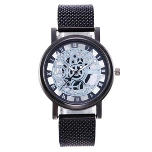 1PC Men's Fashion Business Casual Hollow Out Quartz Watch Mesh Belt Steel Dial Pointer Roman Word Relogio Masculino