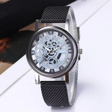 Load image into Gallery viewer, 1PC Men's Fashion Business Casual Hollow Out Quartz Watch Mesh Belt Steel Dial Pointer Roman Word Relogio Masculino