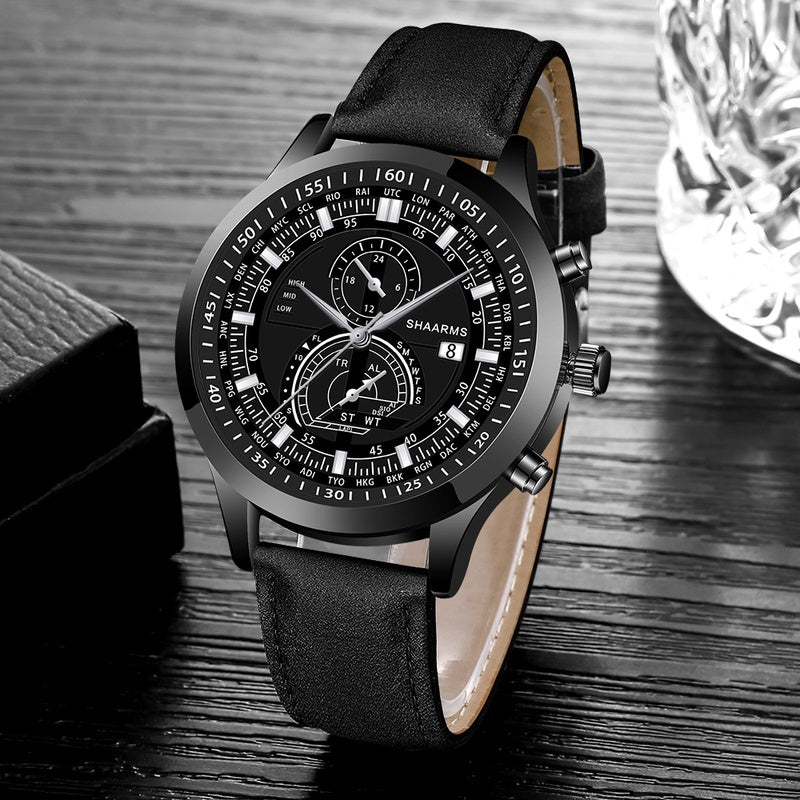 Fashion Leather Quartz Watches Faux Chronograph Date Display Business Wristwatch Gifts For Men Reloj De Hombre